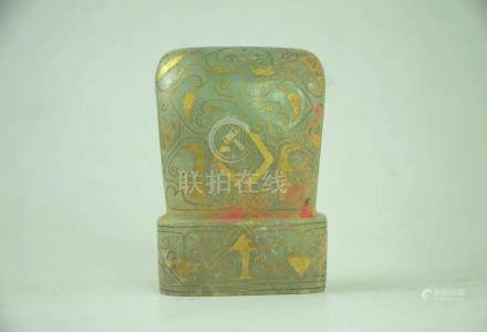 Chinese Hetian Jade Set Gold Pattern Crown