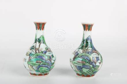 Chinese Pair Of Republic Of China Famille Verte Bottles