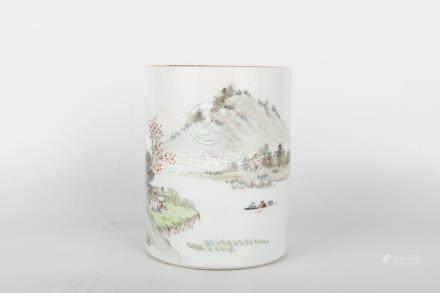 Chinese Porcelain Landscape Character Pattern Brush Pot