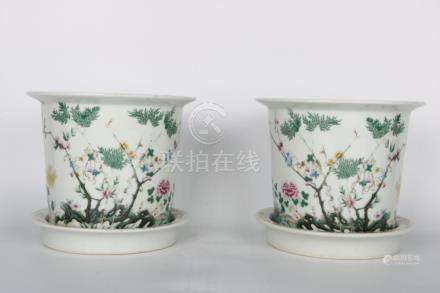 Chinese Pair Of Republic Of China Period Famille Rose Flower