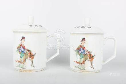 Chinese Pair Of Famille Rose Tea Cups