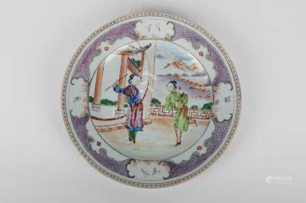 Chinese Qian Long Period Famille Rose Plate