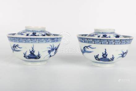Chinese Pair Of Republic Of China Period Blue And White Tea