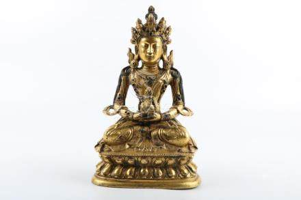 Chinese Qing Dynasty Bronze Gold Gilded Buddha Statue