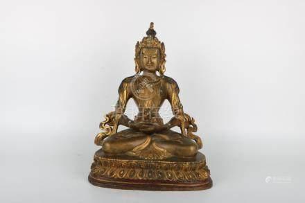 Chinese Bronze Gold Gilded Buddha Of Infinite Life
