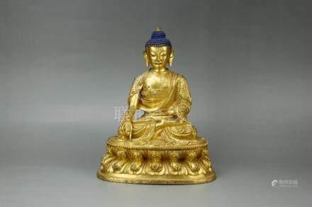 Chinese Qing Dynasty Bronze Gold Gilded Sakyamuni