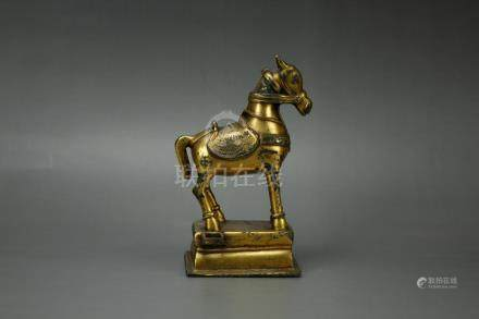 Chinese Tang Dynasty Bronze Gilded Horse
