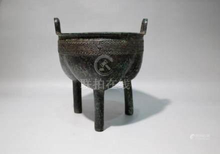 Chinese Bronze Tripod Jar