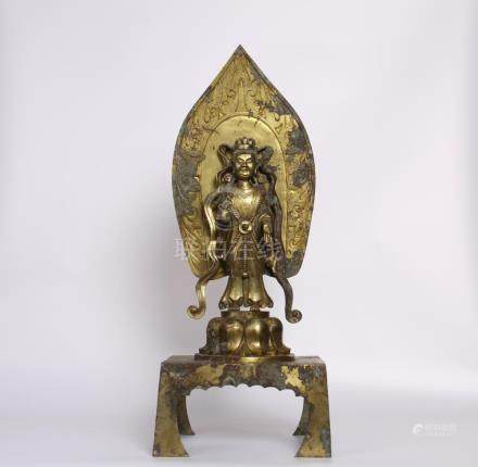 Chinese Early Tang Dynasty Bronze Gold Gilded Guanyin