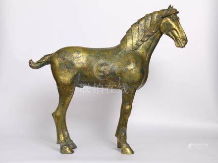 Chinese Tang Dynasty Bronze Gold Gilded Carving Horse