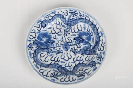Chinese Blue And White Dragon Pattern Plate