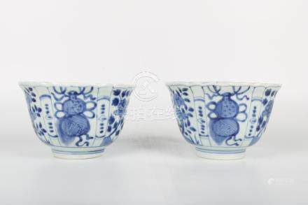 Chinese Pair Of Blue And White Bowls