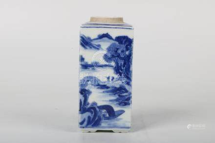 Chinese Qing Dynasty Blue And White Square Tea Pot