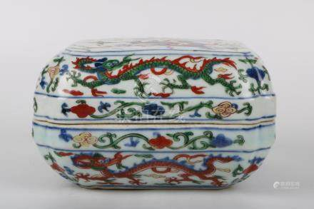 Chinese Famille Verte Blue And White Square Box