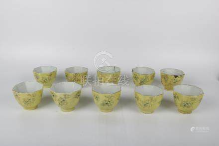 Chinese Set Of Ten Qing Dynasty Porcelain Octagonal Cups