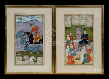 A pair of Mogul style watercolour paintings depicting a hunting scene and a court scene, framed &