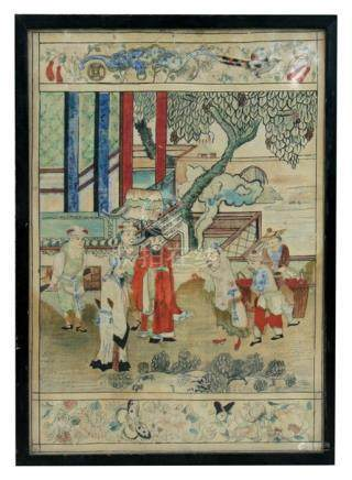 An antique Chinese painting on silk depicting dignitaries on a terrace, framed & glazed, 27 by 39cms