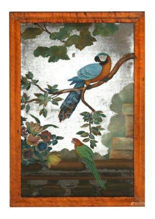 An 18th century Chinese Export reverse painted mirror depicting parrots and foliage, mounted in a