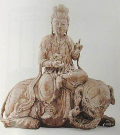 Ming Dynasty Chinese guanyin on Elephant