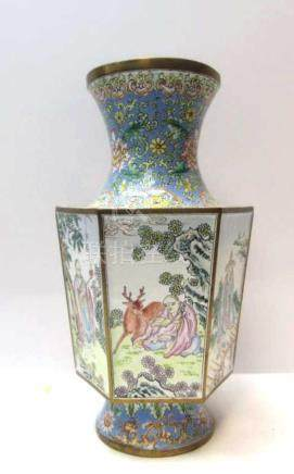 Chinese cloisonne faceted vase featuring several ""
