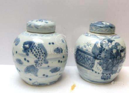 Pair of Blue and White Chinese Tea Leaf Jars
