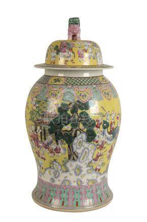 LARGE FAMILLE ROSE 'BOYS' VASE AND COVER