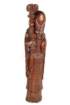 LARGE CARVED BAMBOO FIGURE OF SHOU LAO