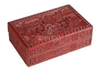CINNABAR LACQUER BOX AND COVER