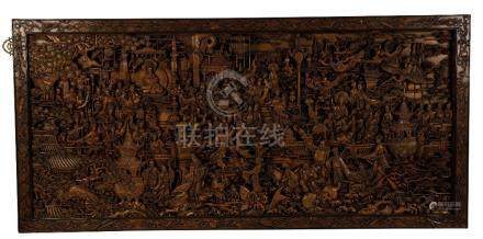 FINE AND LARGE CARVED HARDWOOD PANEL