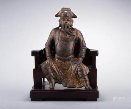 BRONZE CAST SEATED FIGURE OF GUAN YU