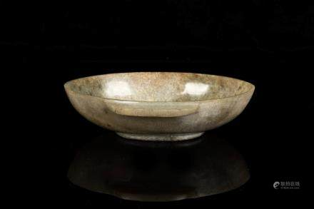 JADE CARVED OVAL SHAPED BOWL