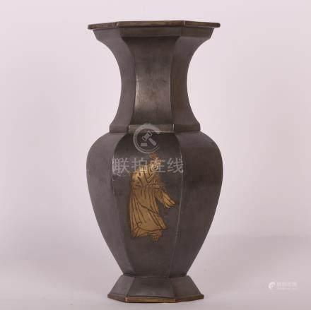 清 锡制人物花瓶