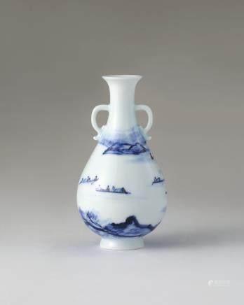 晓芳窑 青花山水泛舟双耳梅瓶