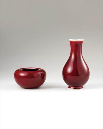 晓芳窑 红釉瓶、红釉水盂(二件一组)