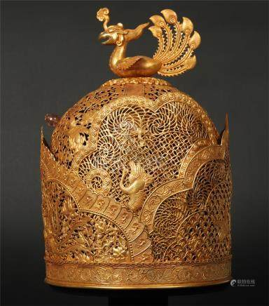 CHINESE GILT SILVER PHOENIX QUEEN'S CROWN