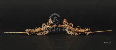 PAIR OF CHINESE GILT SILVER FLYING BEAUTY HAIRPINS