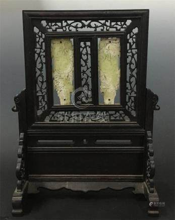 CHINESE JADE PLAQUE INLAID ROSEWOOD TABLE SCREEN