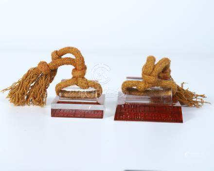 PAIR OF CHINESE ROCK CRYSTAL SEALS