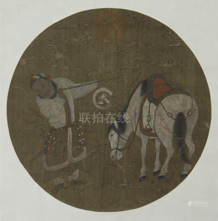 CHINESE ROUND FAN PAINTING OF HORSE AND MAN
