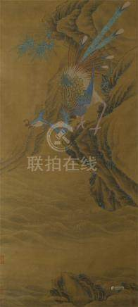 CHINESE SCROLL PAINTING OF PHOENIX ON ROCK