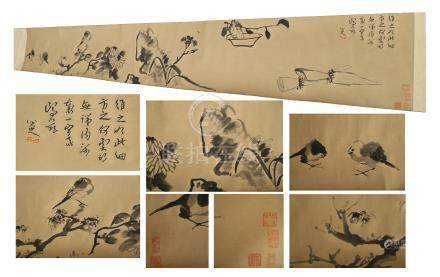 CHINESE HAND SCROLL PAINTING OF BIRD AND ROCK