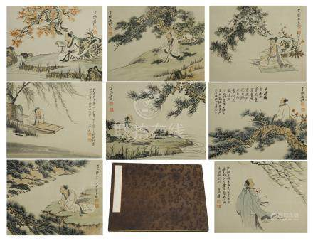 EIGHT PAGES OF CHINESE ALBUM PAINTING OF MEN UNDER TREE