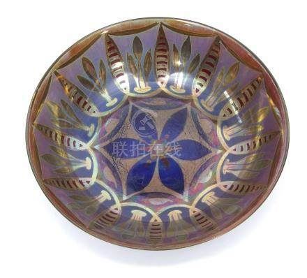 An early 20th century Royal Lancastrian Bowl decorated by William S. Micock with a geometric