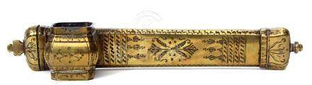 Ottoman period brass scribes case (Divit) with foliate decoration and monogram (JSH?) to one end,