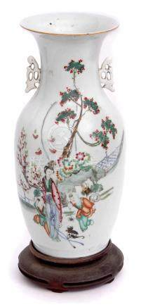 19th century Chinese porcelain baluster vase with polychrome decoration of a lady with two children,
