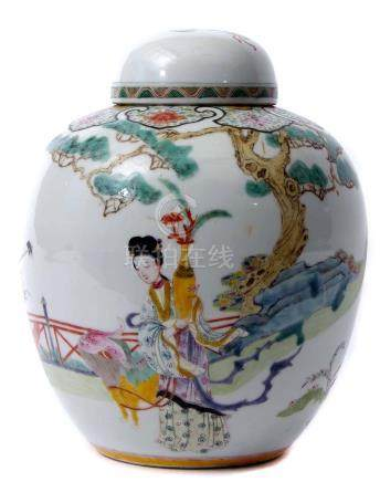 Chinese porcelain ginger jar and cover, late 19th/early 20th century, with enamel decoration of