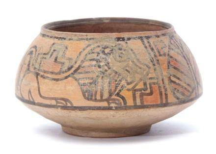 Indus Valley pottery bowl possibly circa 2000BC with painted decoration of a lion and a bull, 8cm