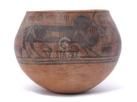 Indus Valley terracotta pottery bowl possibly circa 2000BC, Harappan Culture depicting Zebu bulls