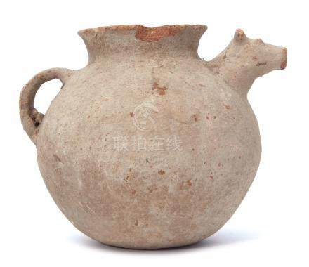 Indus Valley pot, possibly circa 2000BC with a spout modelled as a cow's head, 19cm high