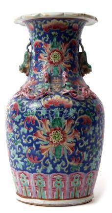 19th century Chinese porcelain vase, the blue ground with enamelled decoration of flowers and